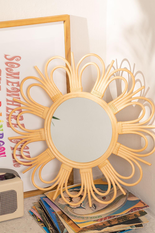Espejo de Pared Redondo en Ratán Kraty
