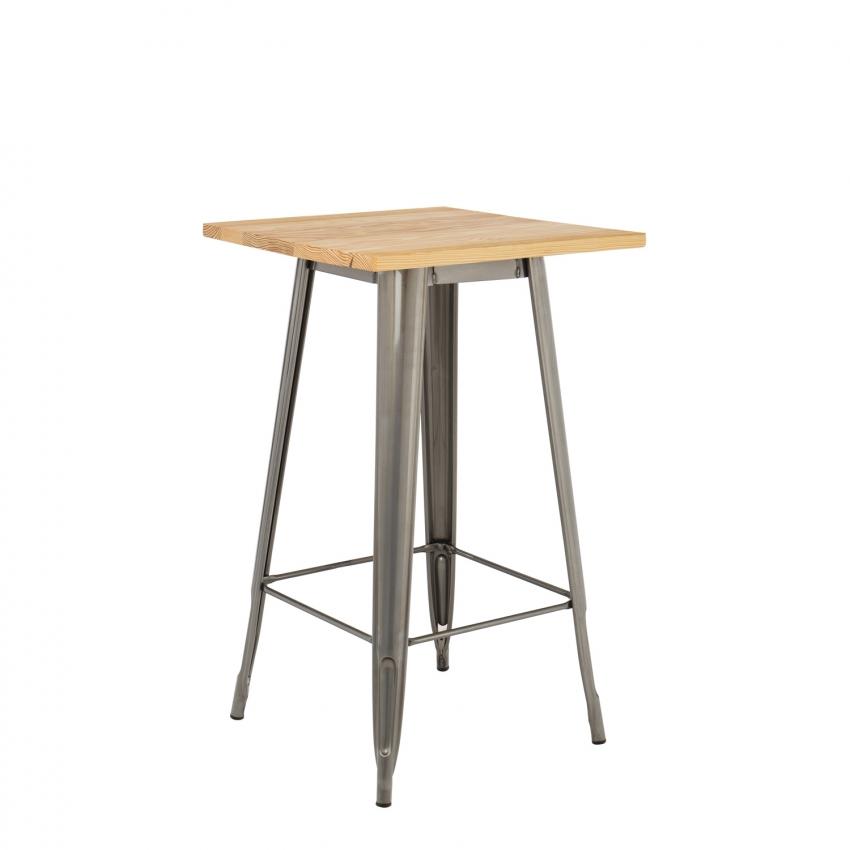 Table haute lix bross e en bois sklum france for Table haute bois