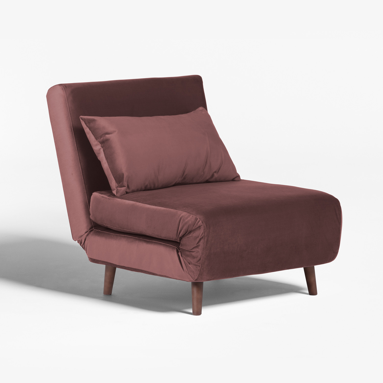 Elen Single Sofa Bed in Velvet Dark Wood   SKLUM