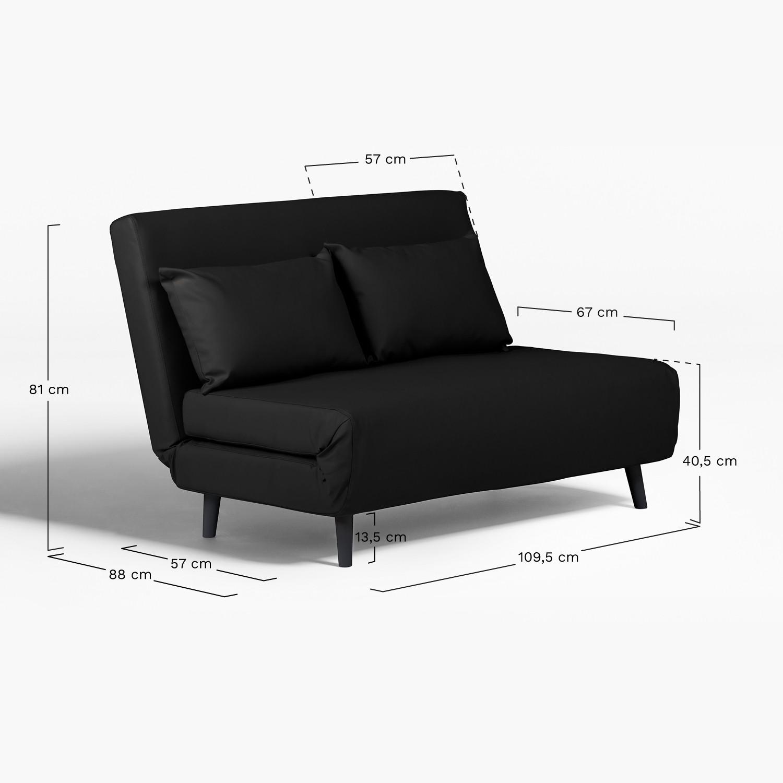 Two Seater Leatherette Sofa Bed Elen   SKLUM