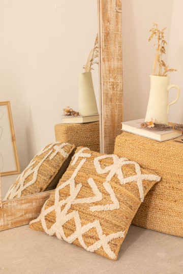 Square Cushion in Jute and Cotton (45x45 cm) Bato