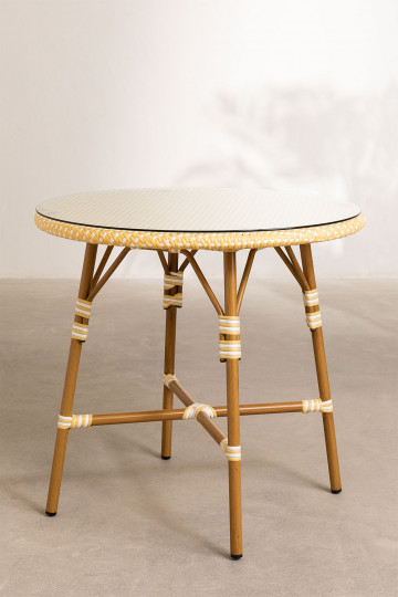 Round Garden Table in Synthetic Wicker (Ø80 cm) Alisa