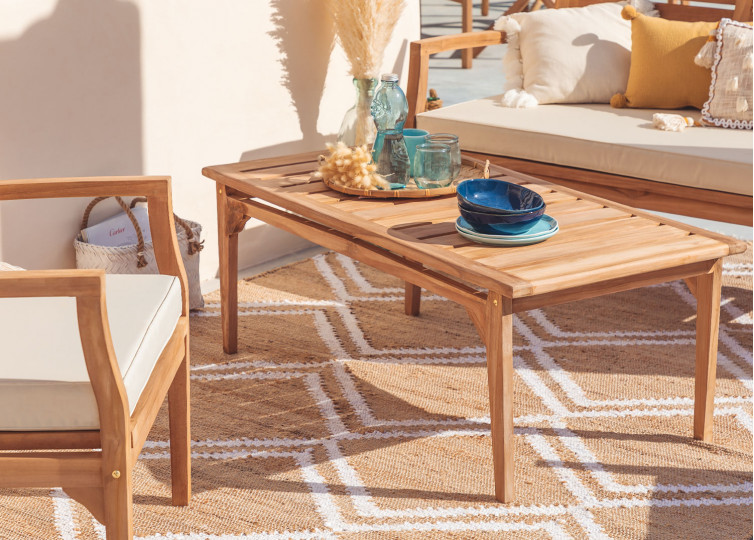 Coffee Table for Garden in Teak Wood Adira