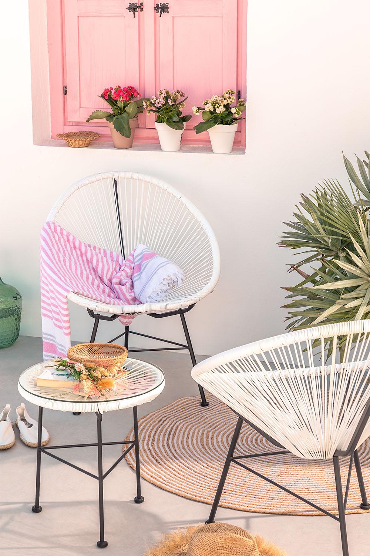 Set 2 stoelen en 1 tafel in polyethyleen en staal New Acapulco, galerij beeld 1