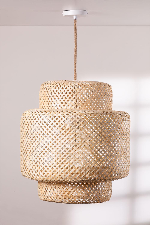 Plafondlamp in bamboe (Ø45 cm) Lexie naturel, galerij beeld 1