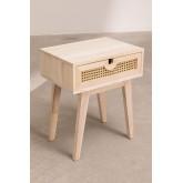 Nachtkastje in Ralik-stijl met lade in hout, miniatuur afbeelding 2