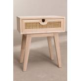 Nachtkastje in Ralik-stijl met lade in hout, miniatuur afbeelding 3