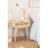 Nachtkastje in Ralik-stijl met lade in hout, miniatuur afbeelding 1