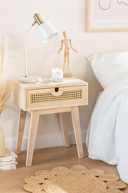Nachtkastje in Ralik-stijl met lade in hout, galerij beeld 1