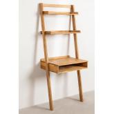Zina-stijl eikenhouten bureau met planken, miniatuur afbeelding 2