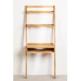 Zina-stijl eikenhouten bureau met planken, miniatuur afbeelding 3