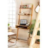 Zina-stijl eikenhouten bureau met planken, miniatuur afbeelding 1