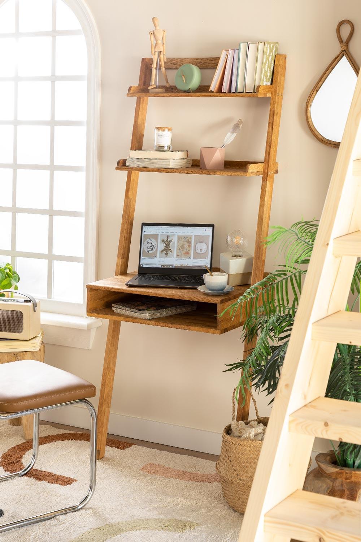 Zina-stijl eikenhouten bureau met planken, galerij beeld 1