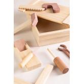 Decker houten gereedschapskist voor kinderen , miniatuur afbeelding 2