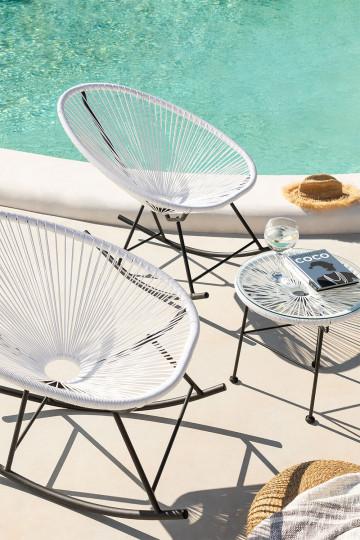 Set 2 Acapulco schommelstoelen en Acapulco tafel