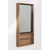 Quhe Rechthoekige wandspiegel met planken in MDF (96x46 cm), miniatuur afbeelding 1