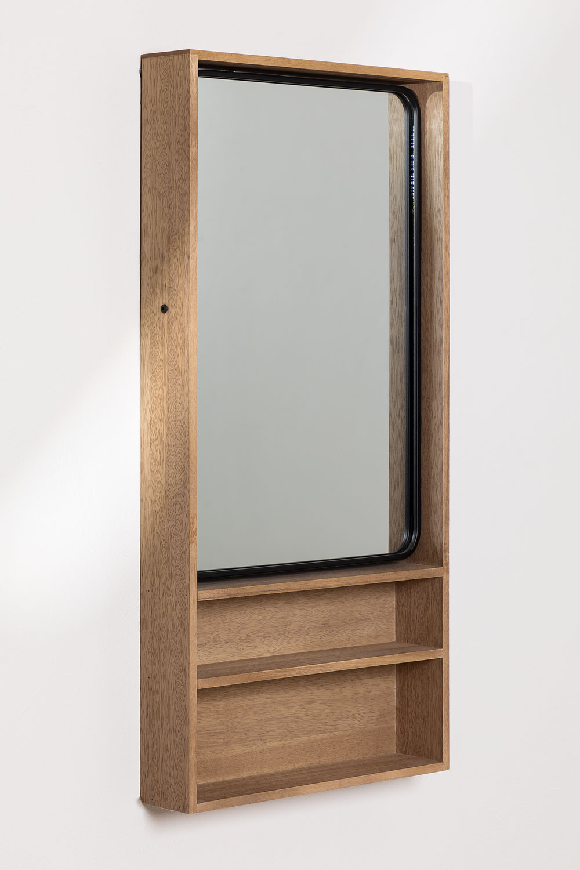Quhe Rechthoekige wandspiegel met planken in MDF (96x46 cm), galerij beeld 1
