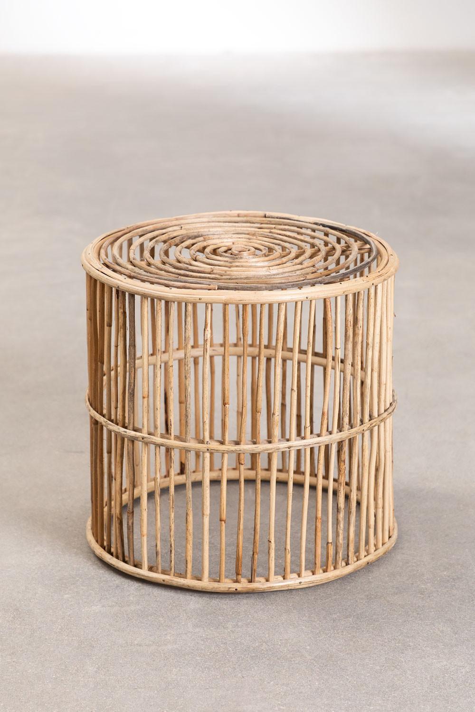 Ronde Qamish Bamboe Bijzettafel, galerij beeld 1