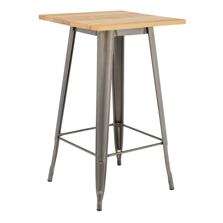 LIX houten hoge tafel geborsteld staal, galerij beeld 1