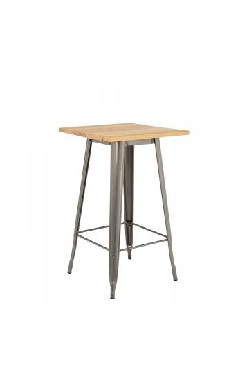 LIX houten hoge tafel geborsteld staal