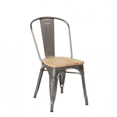 LIX stoel geborsteld staal met houten zitting
