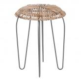 Lage kruk in bamboe en staal Phân, miniatuur afbeelding 1