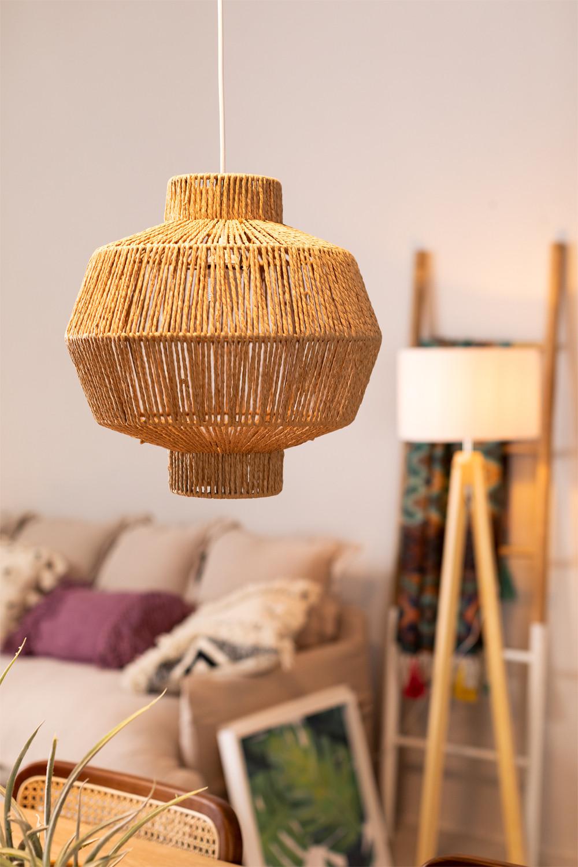 Amaris gevlochten plafondlamp van papier, galerij beeld 1
