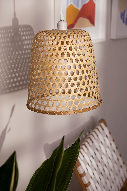 Plafondlamp in rotan (Ø30 cm) Kalde, galerij beeld 1