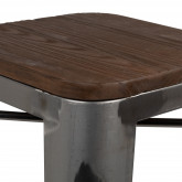 Hoge kruk in staal LIX geborsteld hout, miniatuur afbeelding 4