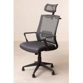 Teill Black zwarte bureaustoel met wielen en hoofdsteun , miniatuur afbeelding 3