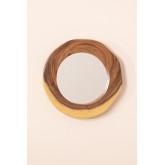 Ronde wandspiegel in hout (33,5x30,5 cm) Vrao, miniatuur afbeelding 3