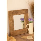 Wandspiegel van gerecycled hout (50x50 cm) Taipu, miniatuur afbeelding 1