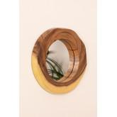 Ronde wandspiegel in hout (33,5x30,5 cm) Vrao, miniatuur afbeelding 2