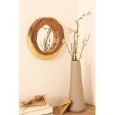 Ronde wandspiegel in hout (33,5x30,5 cm) Vrao, miniatuur afbeelding 1