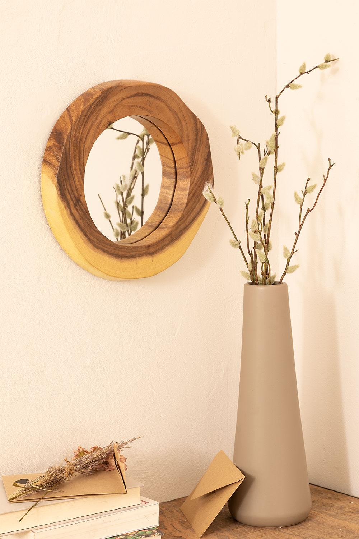 Ronde wandspiegel in hout (33,5x30,5 cm) Vrao, galerij beeld 1