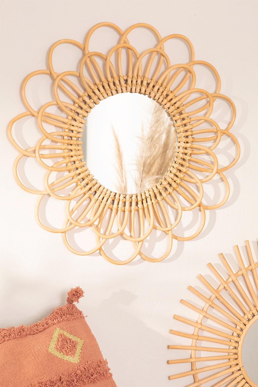 Ronde wandspiegel in rotan (Ø60 cm) Krayo, galerij beeld 1