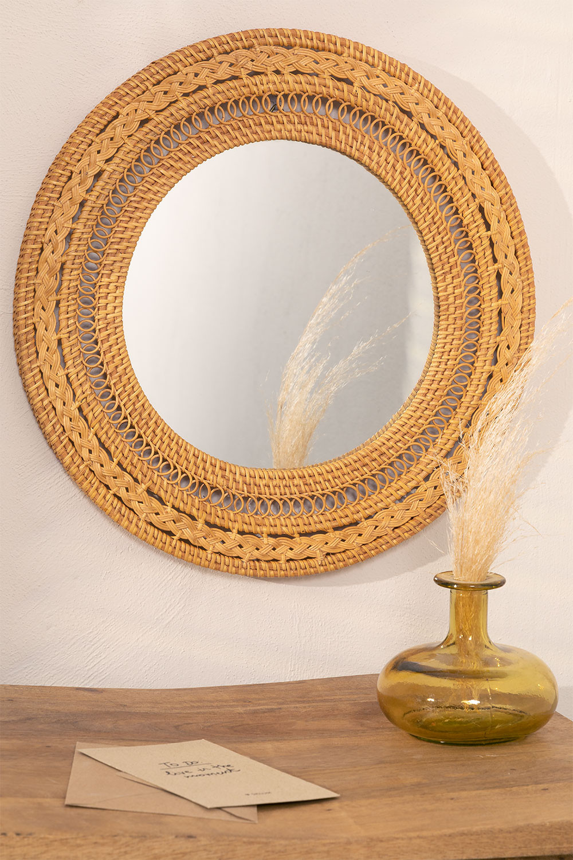Ronde Wandspiegel in Rotan (Ø41 cm) Menit, galerij beeld 1