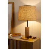 Tafellamp in linnen en hout Ulga, miniatuur afbeelding 1