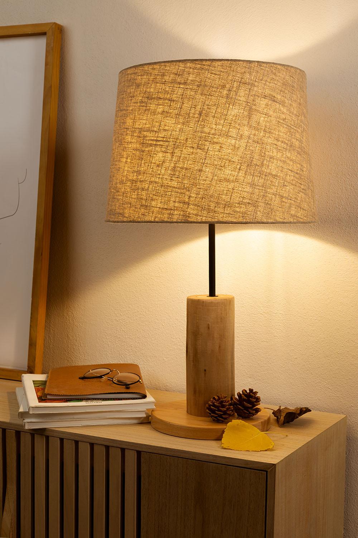 Tafellamp in linnen en hout Ulga, galerij beeld 1