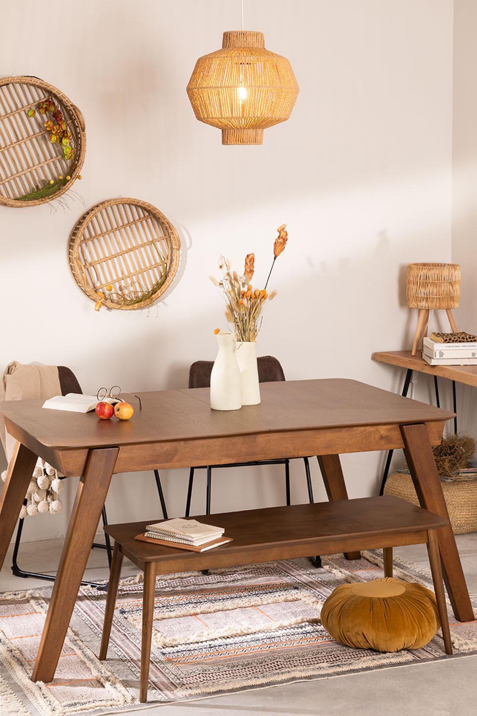 Uitschuifbare eettafel in notenhout (150-180x90 cm) Aliz, galerij beeld 1