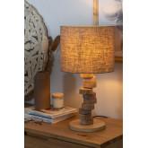 Tafellamp in linnen en hout Olga, miniatuur afbeelding 2