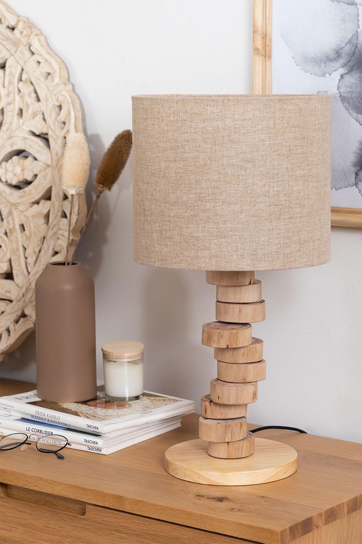 Tafellamp in linnen en hout Olga, galerij beeld 1