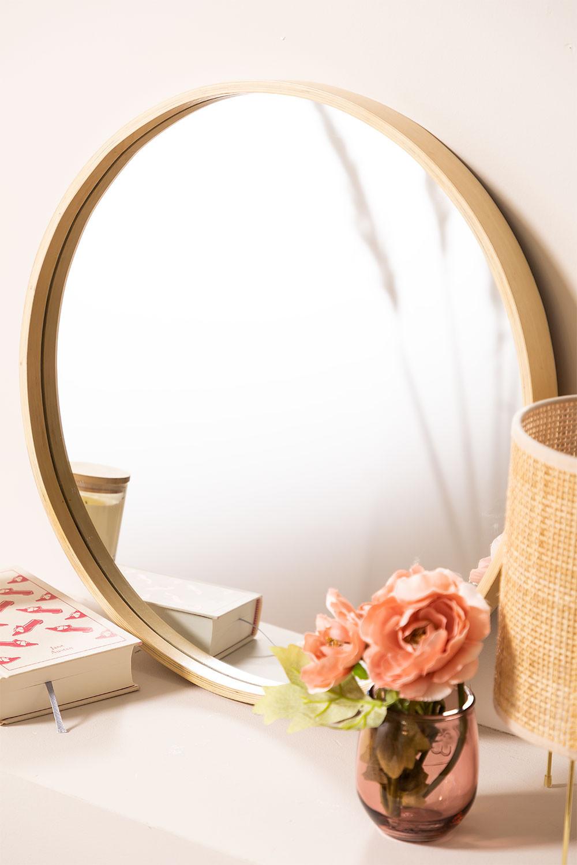 Yiro houten ronde spiegel, galerij beeld 1