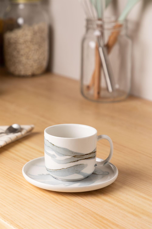 Set van 4 koffiekopjes met bord in porselein Boira, galerij beeld 1