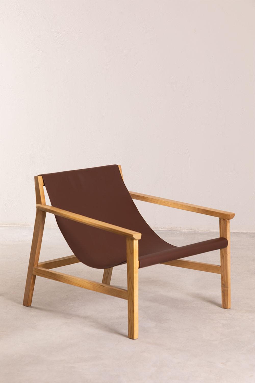 Fauteuil van kunstleer en hout van Harris, galerij beeld 1