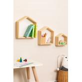 Menlo Kids Pine Wood wandplanken set van 3, miniatuur afbeelding 1