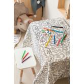 Wasbaar tafelkleed met 12 kleurstiften voor kinderen, miniatuur afbeelding 1