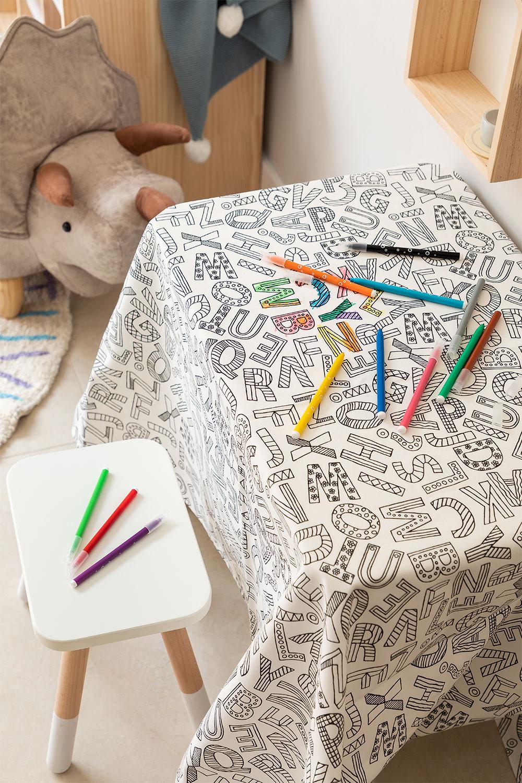 Wasbaar tafelkleed met 12 kleurstiften voor kinderen, galerij beeld 1