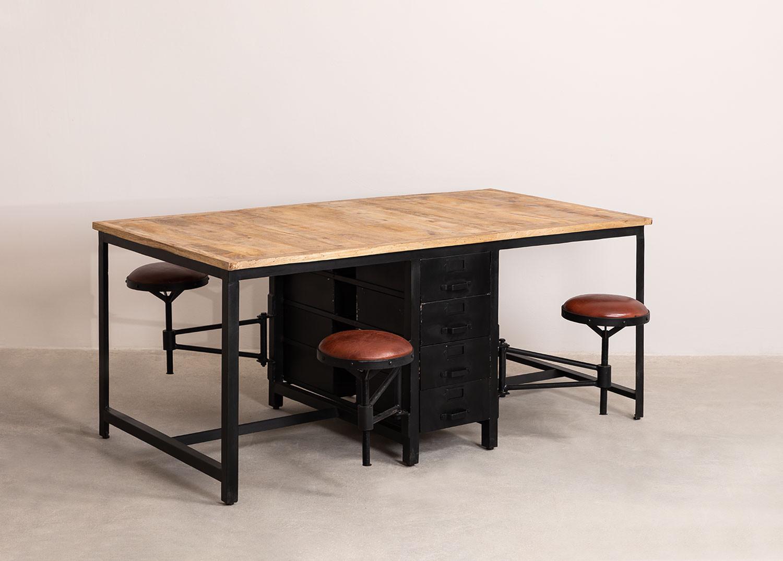 Eettafel van mangohout en metaal met 4 Quadrap krukken, galerij beeld 1
