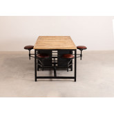 Eettafel van mangohout en metaal met 4 Quadrap krukken, miniatuur afbeelding 2